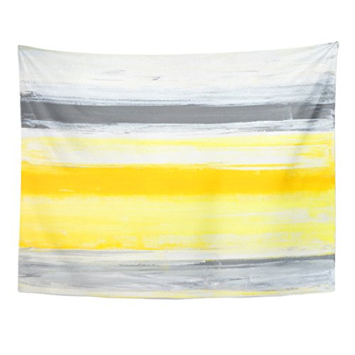 TOMPOP Tapestry Gray Blocks Grey and Yellow Abstract Painting Canvas Contemporary Home Decor Wall Hanging for Living Room Bedroom Dorm 60x80 Inches