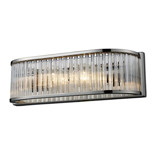 Alumbrada Collection Braxton 2 Light Vanity In Polished Nickel And Ribbed Glass Rods