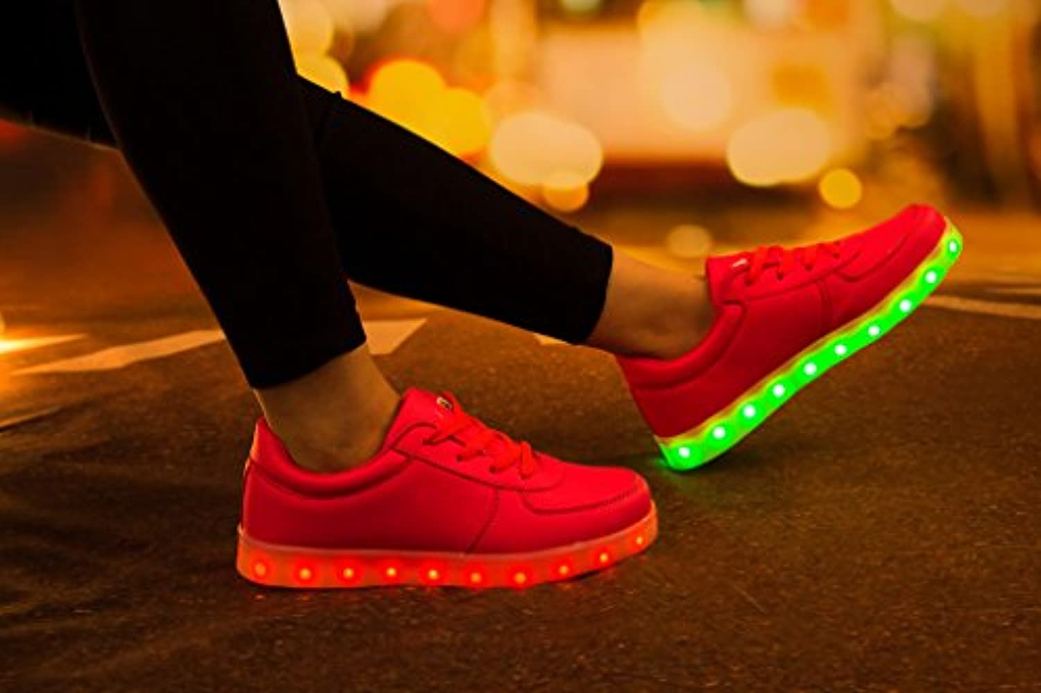 SAGUARO® Kids Girls Boys Womens 7 Colors LED Sport Shoes Flashing Sneakers USB Charging Trainers