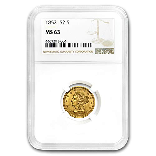 1852 $2.50 Liberty Gold Quarter Eagle MS-63 NGC Quarter MS-63 NGC