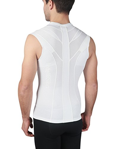 IntelliSkin, LLC Men's Essential V-Tank - Posture Correction Tank - Ideal For Workouts and Sports With Large Range Of Motion (Small, White) by IntelliSkin, LLC
