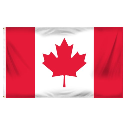 Online Stores Canada Flag Printed Polyester, 3 by 5-Feet