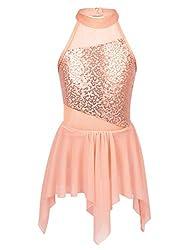 Orange Sequins Halterneck Leotard with Irregular Skirt