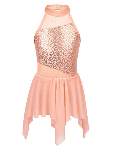 CHICTRY Kids Girl's Cutout Back Lyrical Dance Dress Irregular High-Low Skirt Ballroom Dancing Costumes (11-12, Irregular Orange)]()