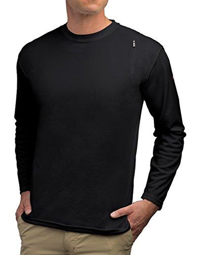 (SCOTTeVEST Performance Athletic Long Sleeve Workout Clothes for Men - 3 Pockets (BK, L) Black )