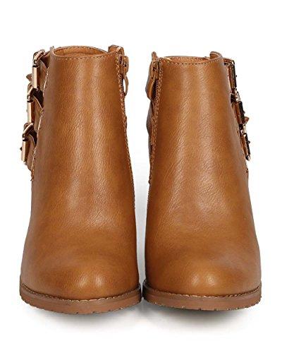 Uppdatera Eg33 Kvinnor Läder Mandel Tå Strappy Spänne Utklipp Fotled Toffeln - Camel