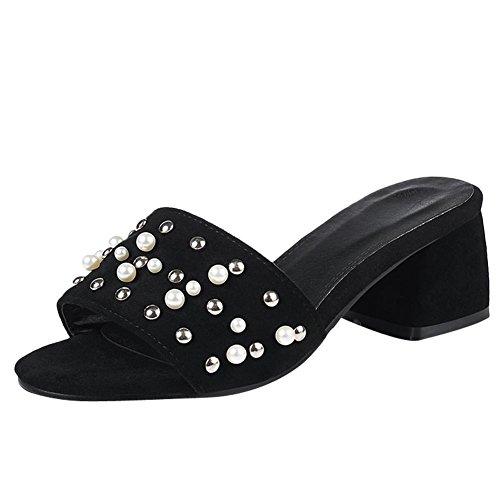 Mee Shoes Women's Fashion Slip On Block Heel Sandals Black Ev2TtAKnnZ