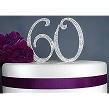 60 Rhinestone Cake Topper - Silver Anniversary or Birthday Cake Topper - Premium Quality Crystal Rhinestones - Decoration Idea (60 Silver)