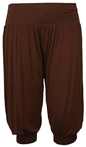 F4U ® Mujer 3/4Ali Baba pantalones baggy short Alibaba harén pantalones de verano pantalones de 8–�?2 marrón