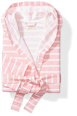 Mae Women's Hooded Stripe Wrap Robe, Pink Stripe, S