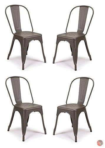 Set of 4 Tolix Style Metal Chairs, Cooper Matte Espresso, Vintage Style Sturdy/Stack-able Chair/Bar Stools, Perfect for Bistro, Cafe, Restaurant, Dining Area, Patio Indoor and Outdoor Use