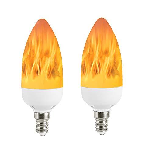 LED Flame Bulb E12 Candelabra Base 3 Watt Warm White LED Chandelier Bulbs Flameless Flickering Light for Events Festival Hotel Christmas Holiday Decoration 2 Modes (2 Pack E12)