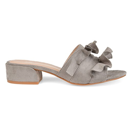 Brinley Co Womens Salest Ruffle Faux Suede Slide-On Mules Grey