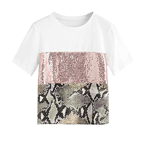 (Sunhusing Women's Leopard Patchwork Sequins Embellished Solid Color Round Neck Panel Short Sleeve T-Shirt Top Pink)