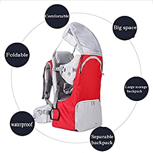 CHTOYS Camping Baby Backpack Hiking Kid Toddler Child Carrier with Stand and Sun Shade Visor for Children Between 6…