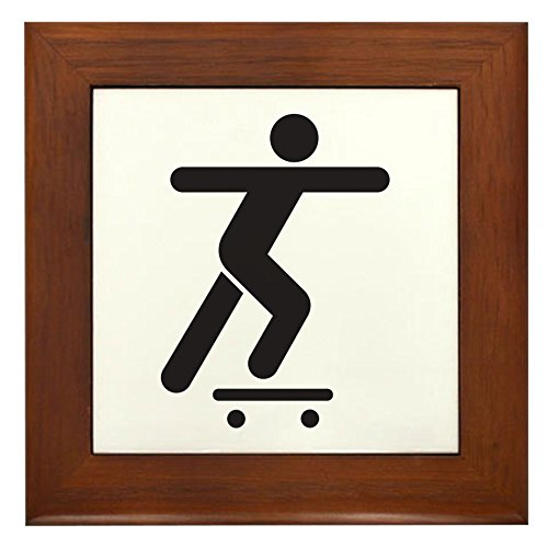 Framed Tile Skateboard Skater Traffic Symbol