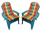 Set of 2 Outdoor Tufted Adirondack Chair Cushion - Bright Colorful Stripe