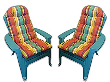 Set Of 2 Outdoor Tufted Adirondack Chair Cushion Bright Colorful Stripe