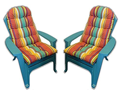 Set of 2 Outdoor Tufted Adirondack Chair Cushion - Bright Colorful Stripe (Chair Cushion Outdoor)