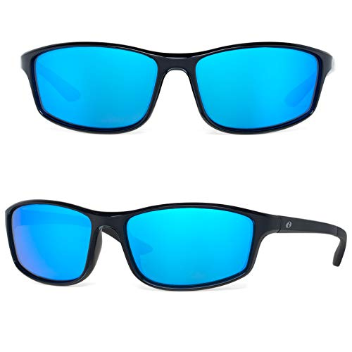 Bnus Paladin italy made corning glass lens blue mirrored polarized sunglasses for men Running Driving Fishing Golf shades (Black/Blue Mirrored, Never Scratch Mirror Coating Polarized - Polarized Lens Sunglass Small