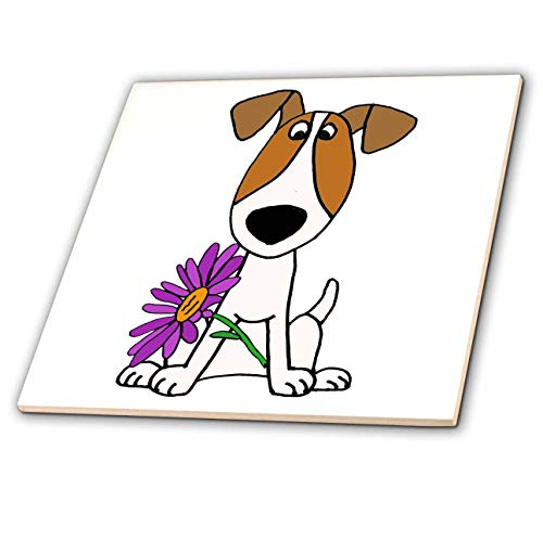 3dRose All Smiles Art - Pets - Cute Funny Jack Russell Terrier Puppy Dog with Daisy Flower - 4 Inch Ceramic Tile (ct_291135_1)