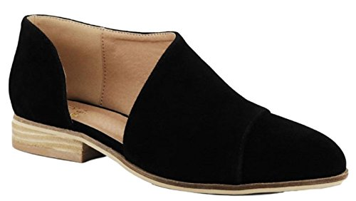 Beast Fashion Carter-05 Women D'Orsay Slip On Pointy Cap Toe Extreme Cut Out Ankle Flat Bootie Black (Beast Womens Cap)