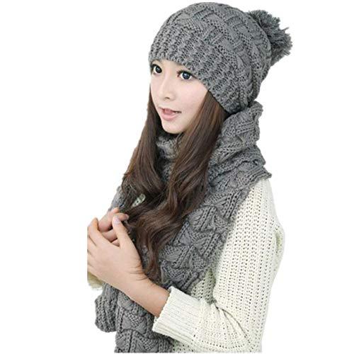 (PASATO 1Set Women Winter Warm Boutique Woolen Knit Hood Scarf Shawl Caps Hats for Fashion Suit (Gray,Free Size))