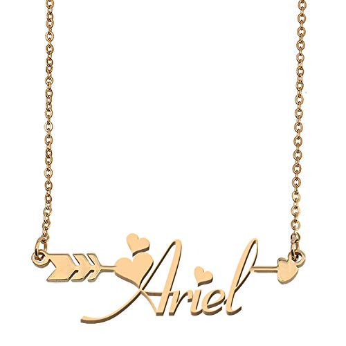 (Aoloshow Customized Custom Name Necklace Personalized - Custom Ariel Initial Name Arrow Horizontal Monogrammed Necklace Gift for Womens Girls)