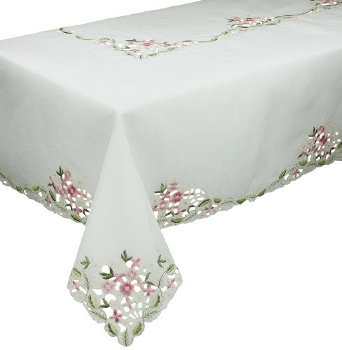 (Xia Home Fashions Fairy Garden Sheer Embroidered Cutwork Spring Tablecloth, 65 by 108-Inch)