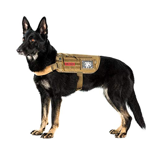 OneTigris Apollo 09 Tactical Dog Harness & Assistance Harness Compatible Vest & Dog Cape with Removable Neck Strap for Service Dog or Pet Dog (Coyote Brown, Medium: Neck 16'-30'; Chest 17'-35')