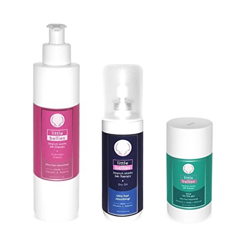 Complete Pregnancy Stretch Mark Therapy Set By Little Bellies | Ultra-Fast Absorbing & Odorless Oil, Cream & Stick Kit To Prevent, Relieve & Treat Pregnancy Stretch Marks | Skin Hydration & Elasticity