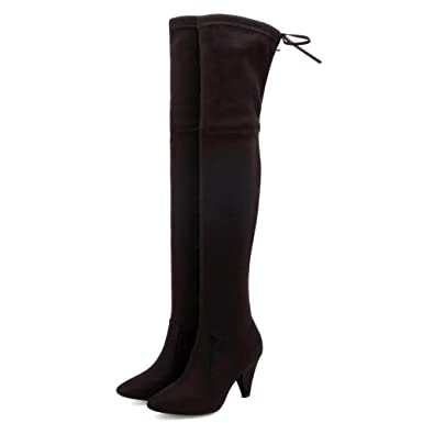 006d132dea0cd Amazon.com: Women Over The Knee Boots Block Heels Slim Lace Up ...