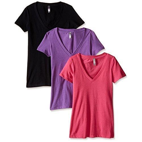 (Clementine Apparel Women's Deep V Neck Tee (Pack of 3), Raspberry/Purple Berry/Black, X-Large )