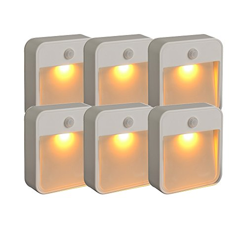 Mr. Beams MB720A Sleep Friendly Battery-Powered Motion-Sensing LED Stick-Anywhere Nightlight with Amber Color Light (6-Pack), White