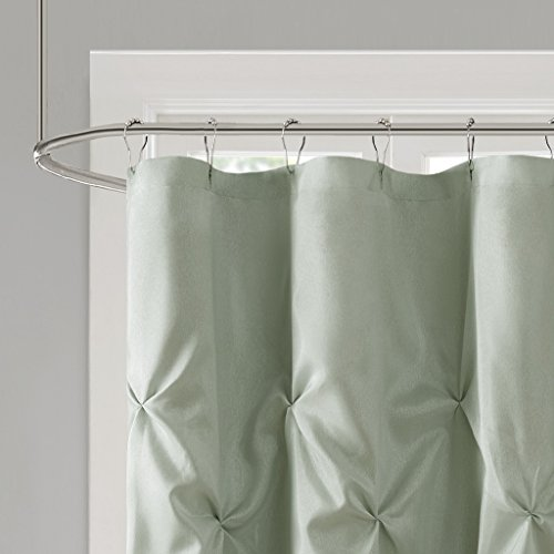 Madison Park Laurel Blue Shower Curtain Solid Transitional Curtains For Bathroom 72 X