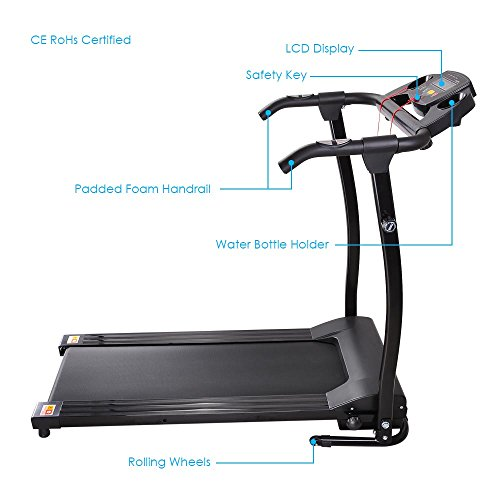 AW 1100W Folding Electric Treadmill Portable Power Motorized Machine Running Jogging Gym Exercise Fitness Black by AW (Image #3)