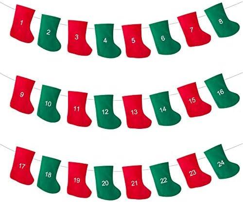 [해외]LIHAO Felt Christmas Stocking Advent Calendar Garland Banner for Christmas Decoration | Countdown to Christmas Banner / LIHAO Felt Christmas Stocking Advent Calendar Garland Banner for Christmas Decoration | Countdown to Christmas ...