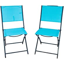 PatioPost Sling Outdoor Chair 2-Pack Sling Textilene Mesh Fabric Iron Folding Armless Chair, Blue
