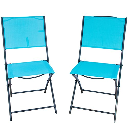 PatioPost Sling Outdoor Chair 2-Pack Sling Textilene Mesh Fabric Iron Folding Armless Chair, Blue Review