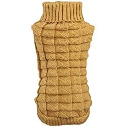 Farjing Clearance Puppy Clothing, Pet Dog Clothes Winter Woolen Sweater Knitwear (M,Khaki