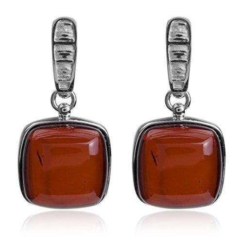 Noda Boucles d'oreilles en argent sterling carré pendentif chaîne collier de 46cm