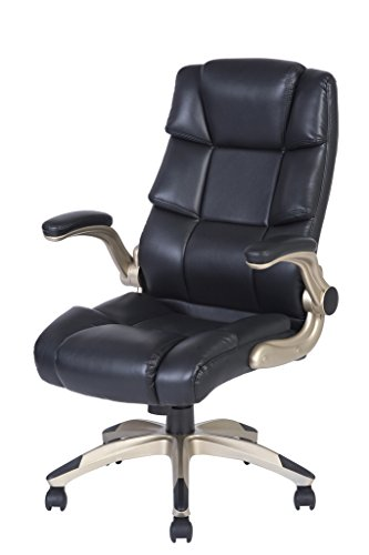 LCH Ergonomic High Back Executive PU Leather Computer Office Chair with Adjustable Padded Flip-up Arms, KD1007