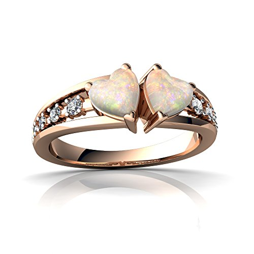 14kt Gold Opal and Diamond 5mm Heart Heart to Heart Ring