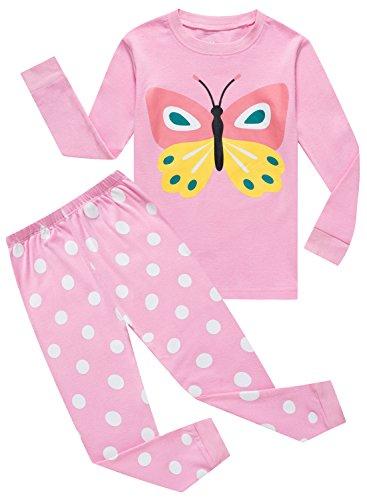 Butterfly Pajamas Sleepwear (IF Pajamas Butterfly Little Girls Sets 100% Cotton Sleepwears Kids PJS Size 7)