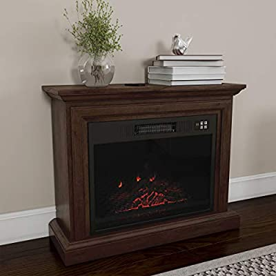 Northwest 80-FPWF-1 Heat Mobile Electric Fireplace with Mantel-Portable Heater on Wheels, Remote Control, LED Flames & Faux Logs, Adjustable Heat & Light (Brown)