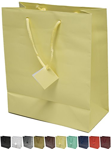 (Novel Box® Ivory Matte Laminated Euro Tote Paper Gift Bag Bundle 8