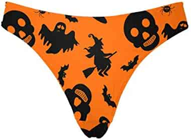 10efc5d35124 INTERESTPRINT Women's High Cut Low Waist Thong Underwear Briefs Halloween  Pattern with Witch, Bat,