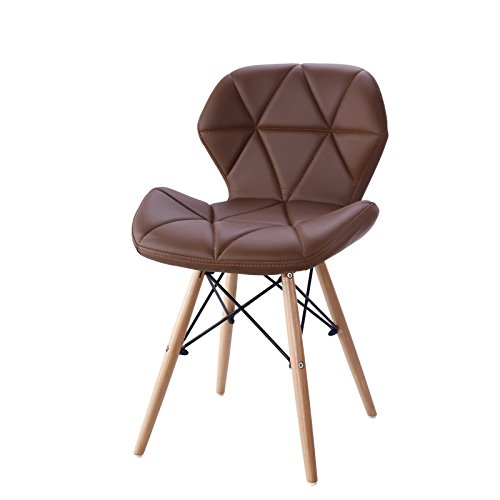 Chair Leather Bedroom (Living Room Leisure Chair, Side Reception Chair with Leather Cushion Seat and Beech Wood Legs, JOYBASE Accent Furniture for Bedroom, Office, Café and Home (Brown))