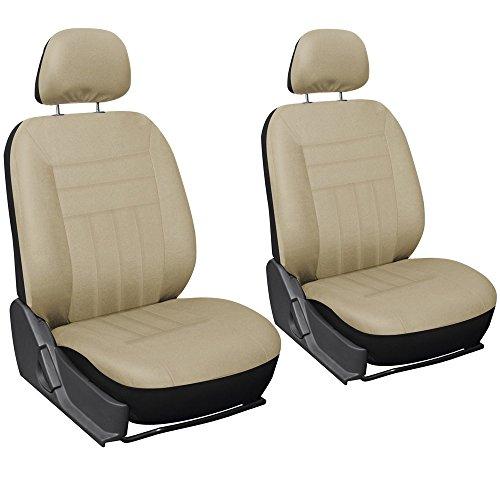 Oxgord Flat Cloth Bucket Seat Cover Set for CarTruckVanSUV, Solid Beige
