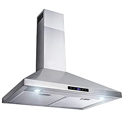 "AKDY 30"" Wall Mount Stainless Steel Touch Control Kitchen Range Hood Cooking Fan"